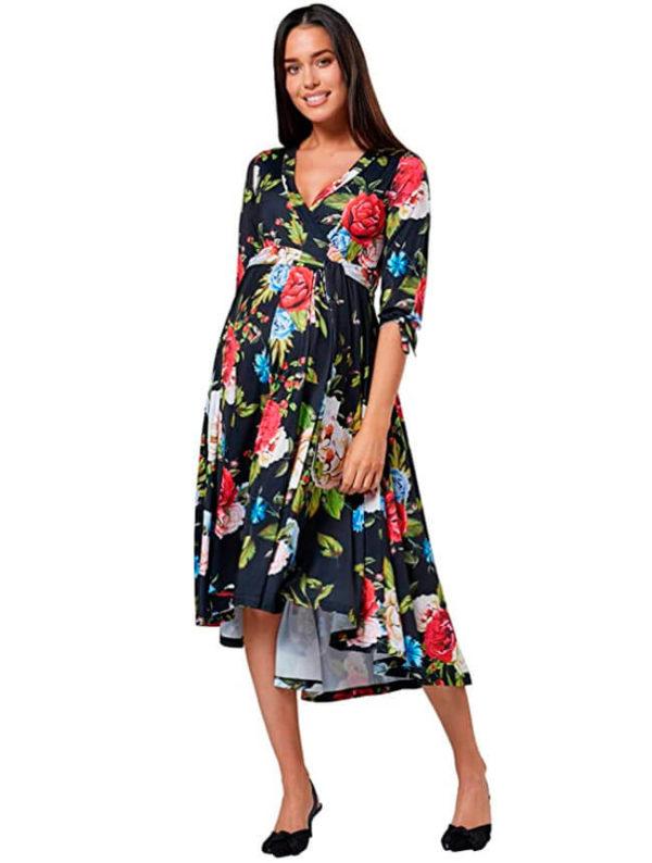 vestidos-elegantes-para-embarazadas-negro-con-flores