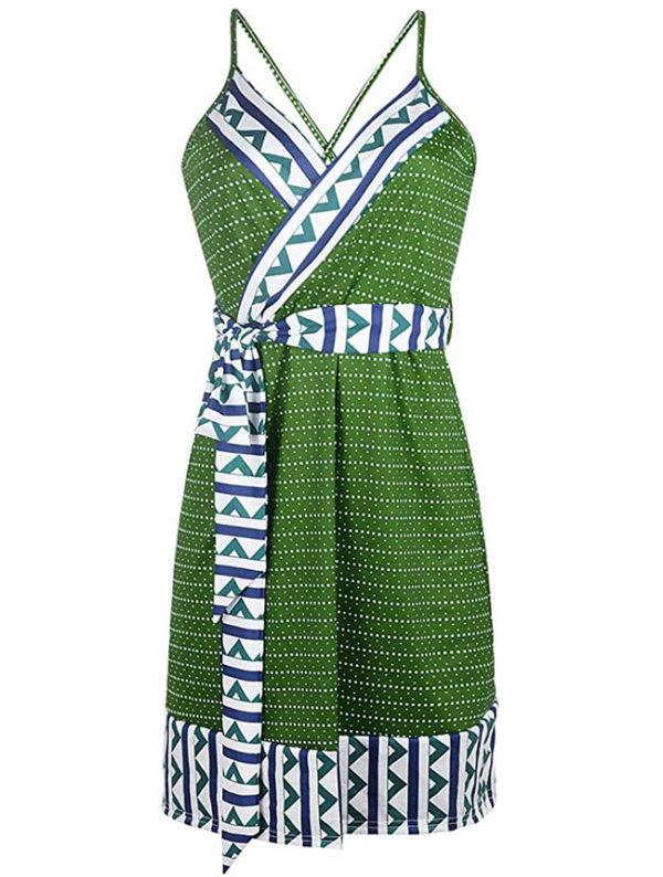 vestidos-largos-para-embarazadas-verdes-con-puntos-blancos