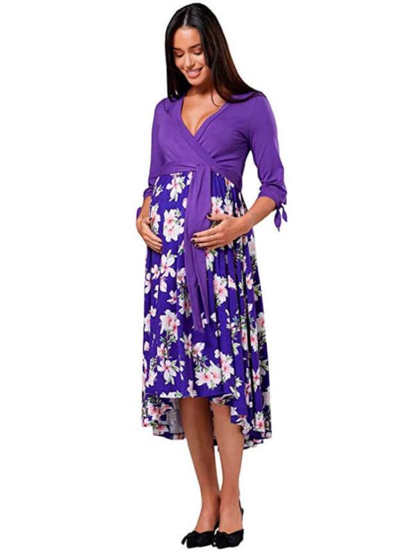vestidos-para-embarazadas-lila-con-flores